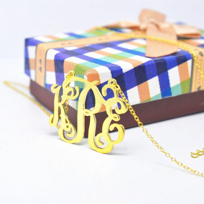 c8b7e72af2ac4 Nazwa Naszyjnik Spersonalizowane Dostosowywanie Tabliczka Znamionowa  Początkowe Monogram Biżuteria bijoux nom collar de nombre