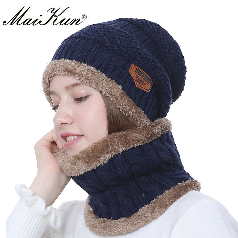 Maikun Winter   Beanies   Women Scarf Knitted Hat Caps Mask Gorras Bonnet Warm Baggy Winter Hats For Men Women   Skullies     Beanies   Hats