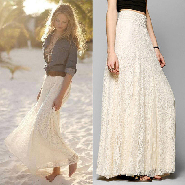 MUQGEW Summer Lace Double Layer Pleated Maxi Skirt Elastic Waist Solid Beige White