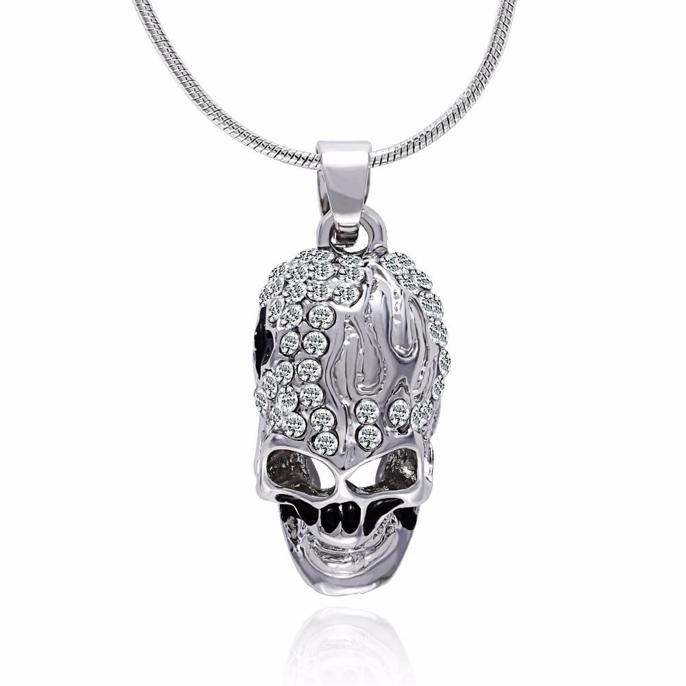 Tassina 2017 Silver Color Punk Crystal kostra lebka náhrdelníky přívěsky pro ženy Módní šperky TA0138