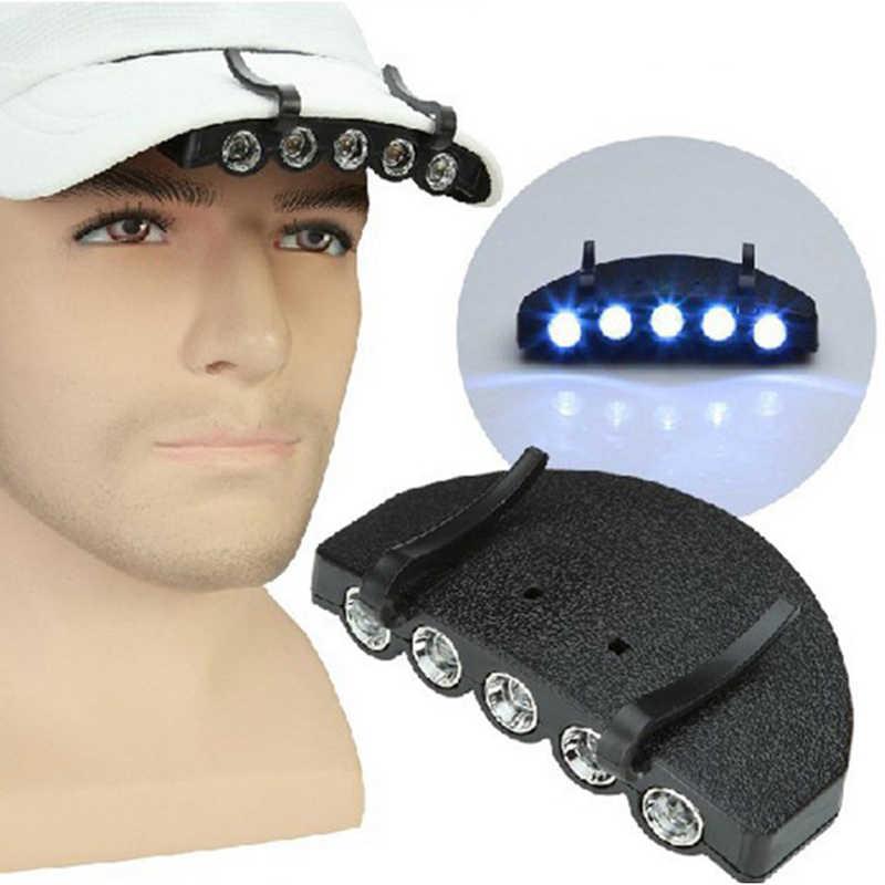 1 unidad de iluminación exterior seguridad nocturna Clip-on 5 Leds cabeza Cap/sombrero ala luz linterna para cabeza pesca campamento caza