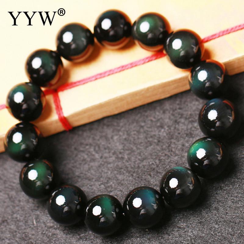 Natural Black Obsidian Bracelet Round Natural Ston