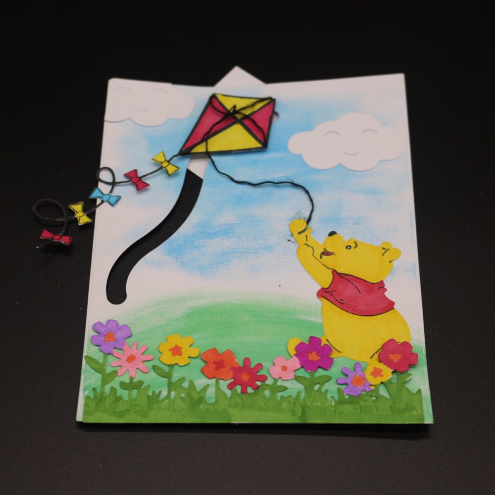 Bears Flying Kite Metal Blades Scrapbook Craft Dies Cutting 3d Diy