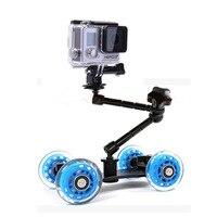 Photo Camera Rail Car 11 Inch Articulating Magic Arm+Mini Desktop Table Dolly Car for Canon Nikon Sony Camera Gopro 3 3+ 4 5 SJ