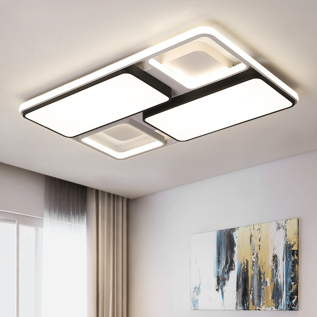 New Modern  Led Ceiling Light for foyer Living room Bedroom Kitchen Black and White Creative Fashion remote control Ceiling Lamp