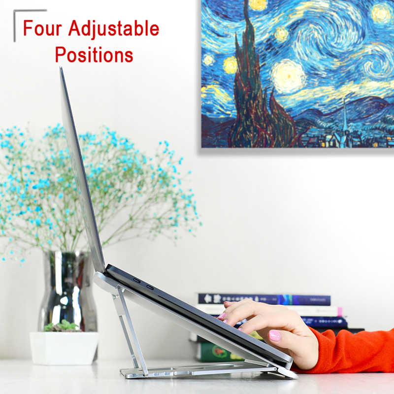 aluminum alloy Folding Portable Dual-purpose design Aluminum Alloy Laptop Stand Bracket Cooler Cooling Pad for 10-17inch Notebook (3)