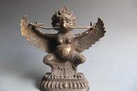 Kolekcjonowania brązu posąg lwa S0034 9 CAL Buddyzm Tybet Folk Old Brąz Rzeźbione Ptak Garuda B0403 Bóg Statua w Posągi i rzeźby od Dom i ogród na