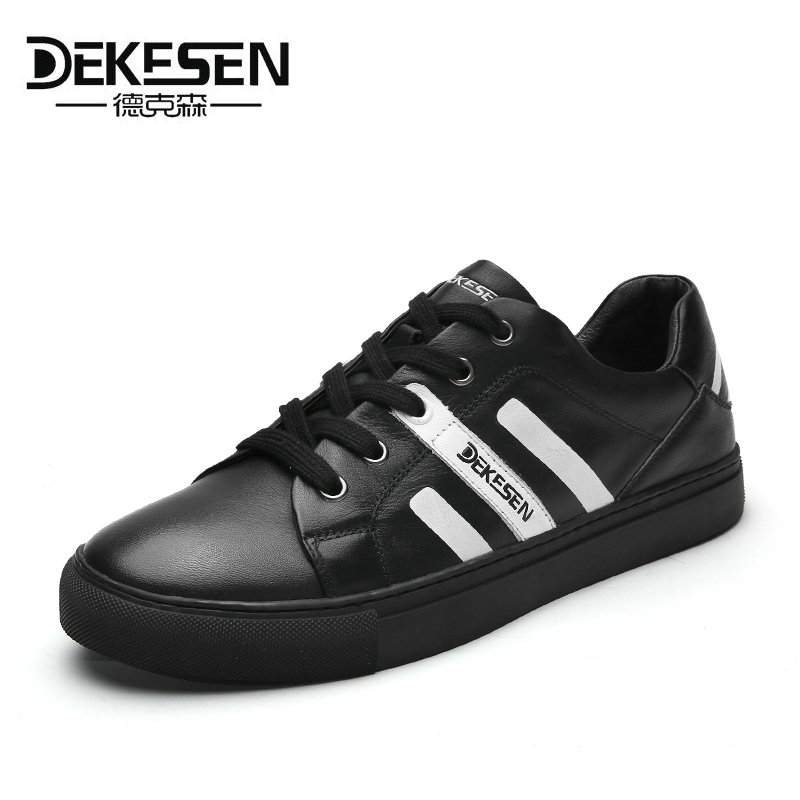 DEKESEN New 2017 Mens Casual Shoes 100% Genuine leather Casual shoes for men Sheepskin Sneakers Spring Autumn Hip-hop mens shoes 2017 new spring imported leather men s shoes white eather shoes breathable sneaker fashion men casual shoes