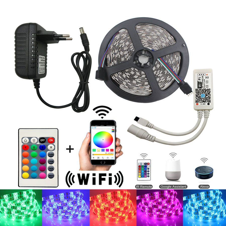5 M WiFi LED Streifen Licht RGB dc 12 V SMD5050 2835 RGB Flexible led Licht Band Diode Band tira fita Mit WiFI Controller adapter