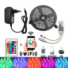 5M WiFi LED Strip Light RGB dc 12V SMD5050 2835 RGB Flexible led Light Tape Diode Ribbon tira fita With WiFI Controller adapter