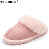 7 Colors Sheepskin Real Wool Winter Slippers Women Plush Home Shoes Fur Warm Comfort Indoor House Home Slippers Large Size 44