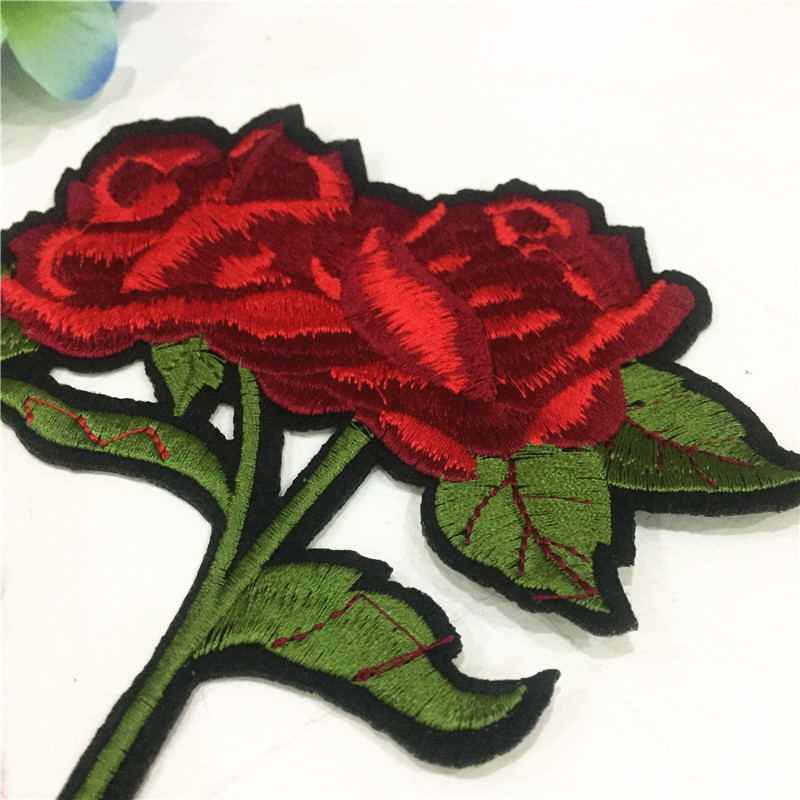 1 Pcs Top Patches Iron-on Sew-on Red Rose Flower Embroidery Patch Motif Applique Children Women DIY Clothes Sticker Wedding Big
