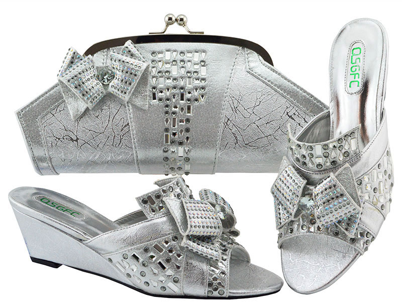 African Wedges Heel Shoes And Bag Set For Wedding Party Fashion Italian Design High Quality Shoes With Matching Bag Set MM1072 hot artist italian design shoes with matching bag set for wedding african style rhinestone high heels shoes and bag set tx 998