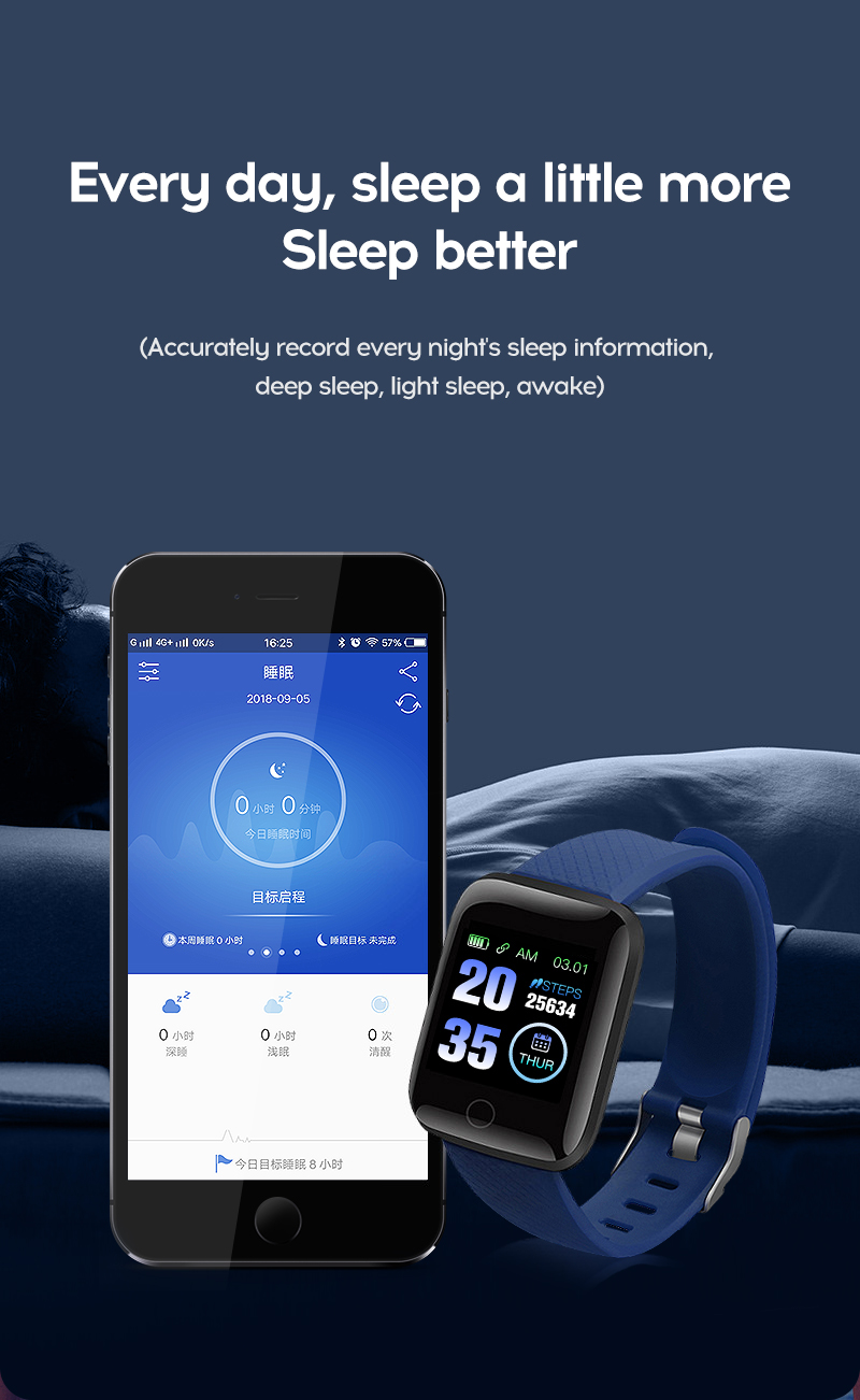 LYKRY 116 plus Smart Bracelet Fitness Tracker Heart Rate Blood Pressure Monitor Smart Band IP67 Waterproof Sports For Android IOS+Box (14)