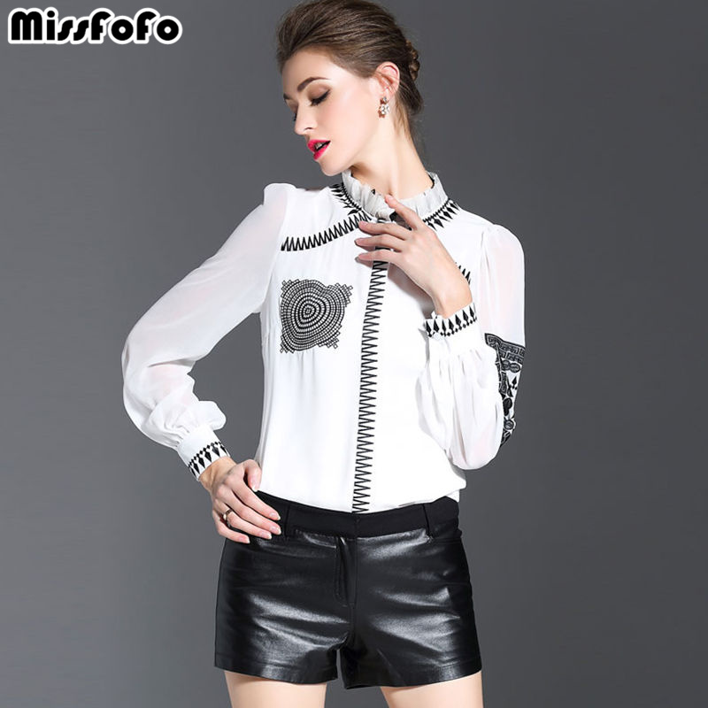 MissFoFo 2019 New Spring Summer Casual Full Sleeve Button Solid embroidery Stand Women s Shirt White
