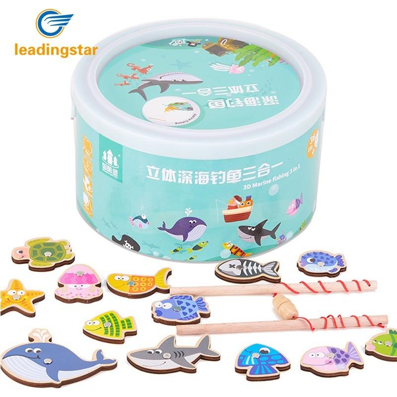 LeadingStar Unisex Wooden Magnetic Fishing Game Educational Marine Animals Model Toys Educational Toys Outdoor Fun Kids Toy hot toys great white shark simulation model marine animals sea animal kids gift educational props carcharodon carcharias jaws