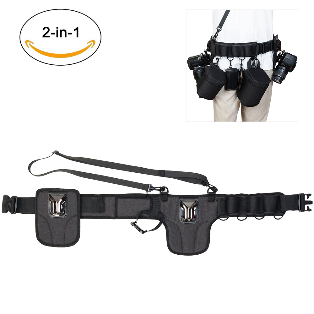 CADeN dslr camera clip belt bags with Hanging Waist Straps buckle quick release mount for double cameras of Canon Nikon Sony цена