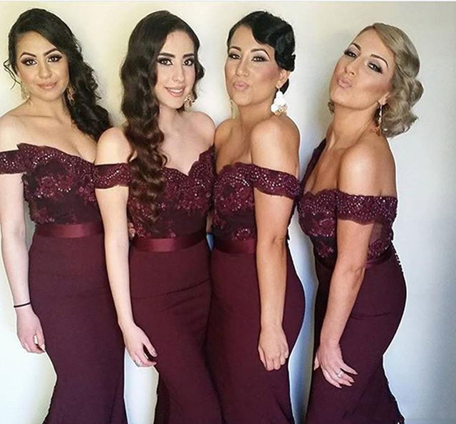 Elegant Navy Blue Burgundy Off the Shoulder Lace Long Bridesmaid Dress  Wedding Party Dress Mermaid Sweep Train Bridesmaid Dress 7e2304c6cb17