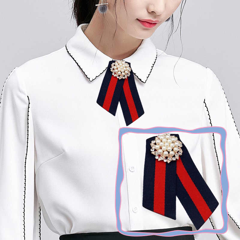 6e9fb9a8869 ... Fabric Bow Brooches for Women Necktie Style Brooch Pin Wedding Dress  Shirt Brooch Pin Handmade Accessories