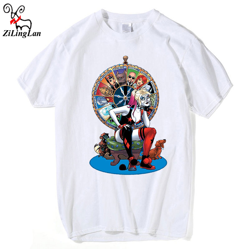 ZiLingLans Suicide squad cartoon sexy beautiful girl character print t-shirt young people trend casual comfort short sleeve