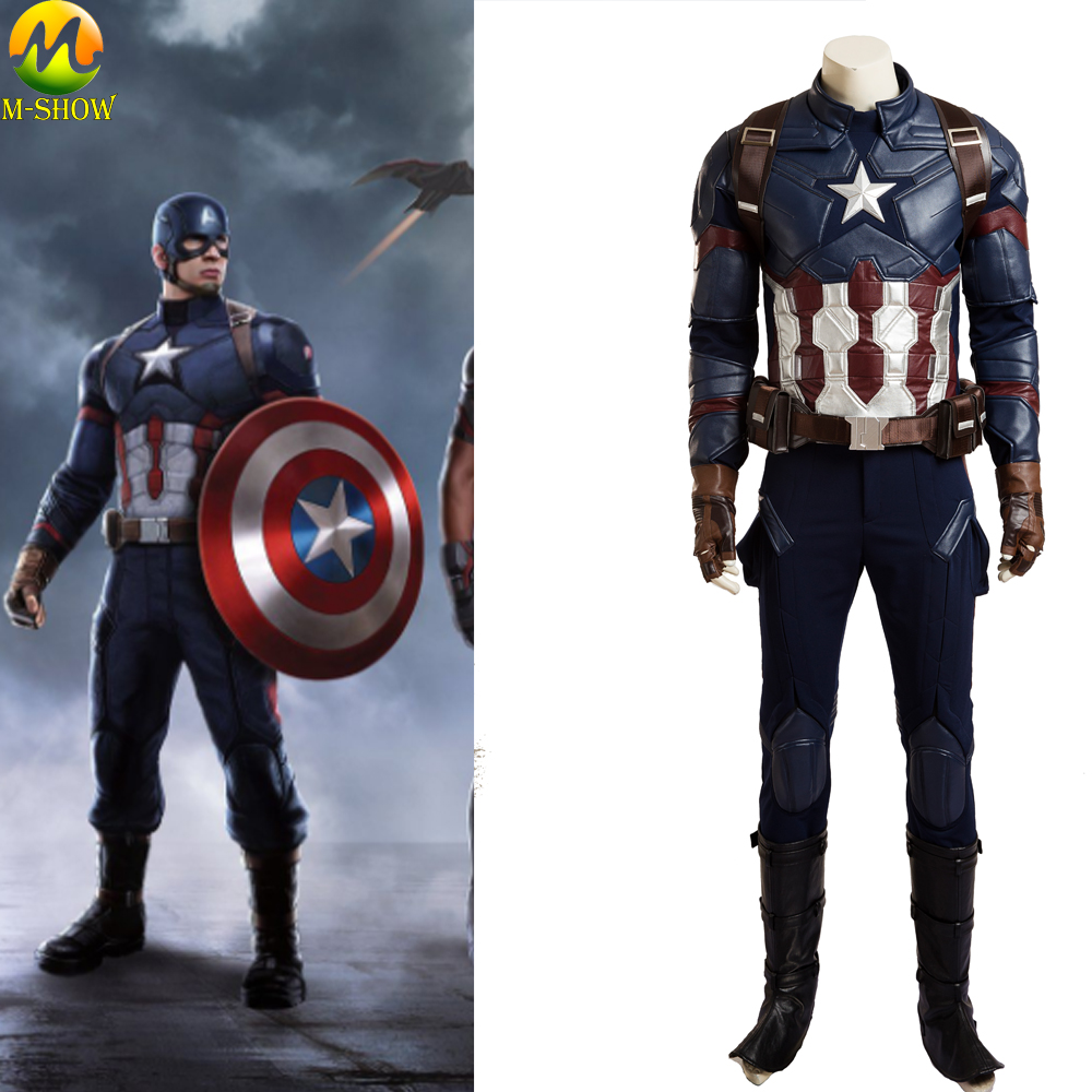 Movie Captain America 3 Civil War Cosplay Costume Captain America Superhero Men Cosplay Full Suit Custom Made Halloween