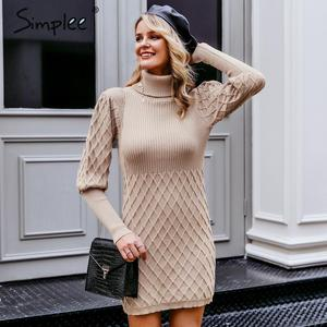 Image 3 - Simplee Turtleneck long cable knitted women pullover sweater dress Vintage autumn winter lantern sleeve female outwear dresses