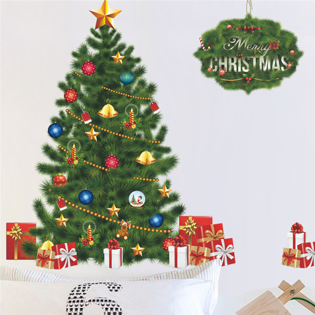 Us 4 59 8 Off Christmas Tree Wall Stickers Living Room Bedroom Store Christmas Decor Wall Decals New Year Window Gift Home Decor Mural Poster In