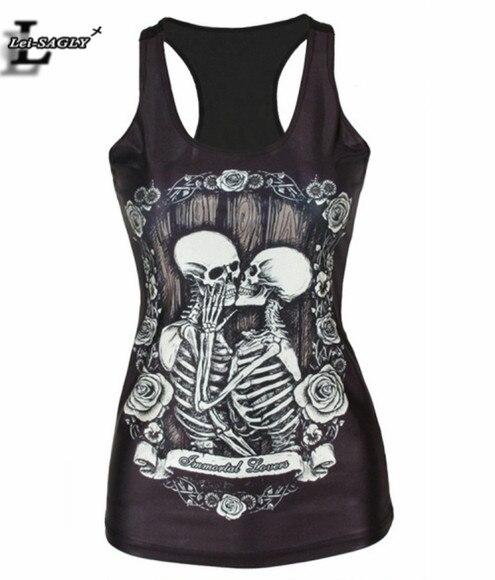 2018 Spring Summer Kiss Skull Black Punk Women Fashion T shirt Fitness Elastic Harajuku Vest   Tops   Sexy   Tank     Top   V46