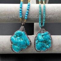 WT-NV134 Großhandel Natürliche Klobigen Grüne Stein Halskette Zufall Form Mit Charme Mikro Gepflastert Runde Perlen Halskette Design