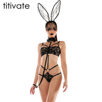 TITIVATE Hot Sexy Lingerie Exotic Lingerie Sexy Bunny Costume Cosplay Sexy Underwear Lace Bunny Rabbit Role