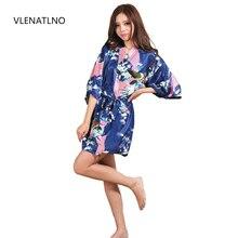 Bata de boda de satén de seda para dama de honor, albornoz Floral, Kimono corto, bata de noche, bata de baño, moda para mujer