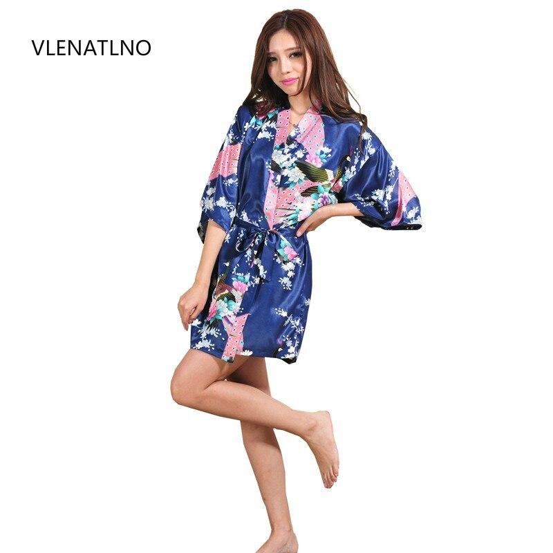 Seda satén boda novia dama de honor bata Floral Albornoz corto Kimono bata de noche bata de baño bata de moda para mujer