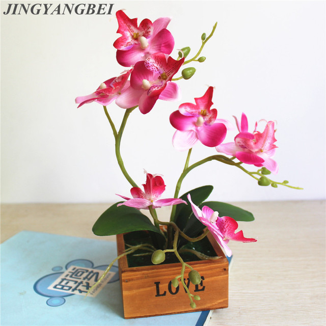 Artificial Butterfly Orchid Potted Plants Silk Decorative Flower