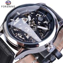 Forsining New Hot Sale Skeleton Watch Hollow Mechanical Hand Wind Men Luxury Male Business Leather Strap Wrist Relogio Dropship 2016 new fashion hot sewor date rubber strap calendar business retro men mechanical automatic self wind male wrist watch gift