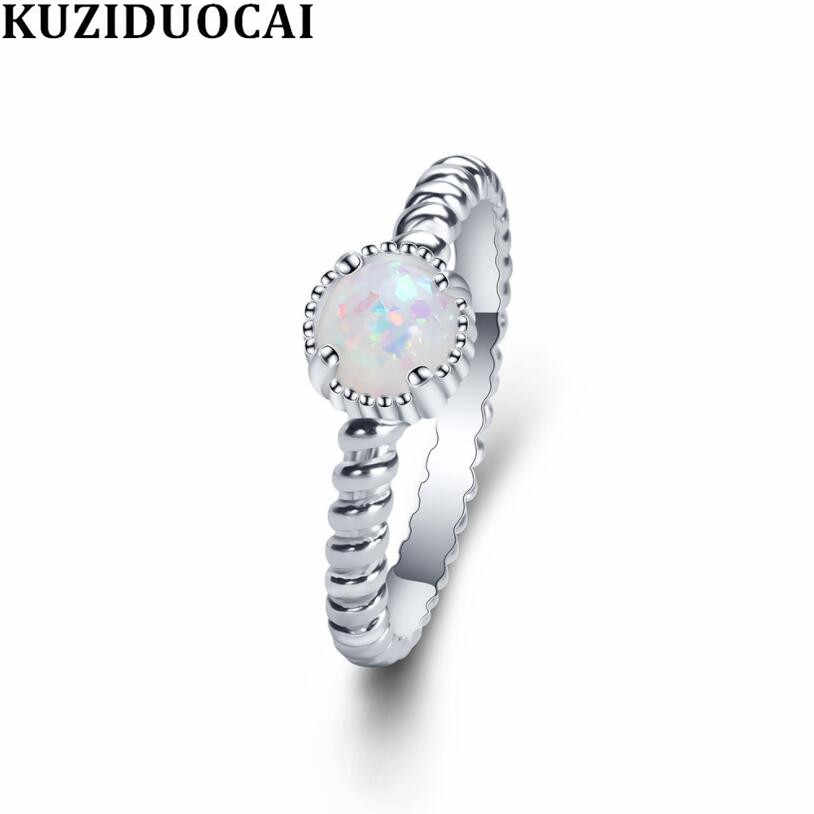 Kuziduocai New Fashion Jewelry Reflective Colorful Opal Spiral Stainless Steel Wedding Bride Rings For Women Girls Anillos R-936