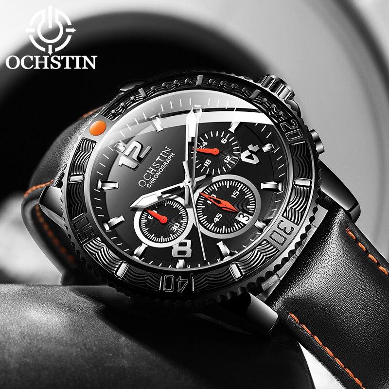 OCHSTIN Fashion Design Top Brand Men Watches Men's Leather Waterproof Casual Quartz Date Clock Male Watch Relogio Masculino