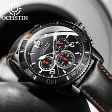 OCHSTIN montre en cuir pour hommes, Design à la mode, étanche, horloge de Date, Quartz, Design à la mode, décontracté
