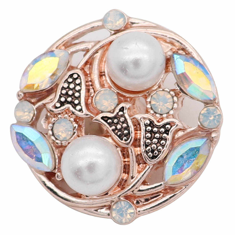 2019 New Rose Gold Snap Button Jewelry Rhinestone Crystal Love Heart Snap Button for 18MM Snap Bracelet Love Jewelry