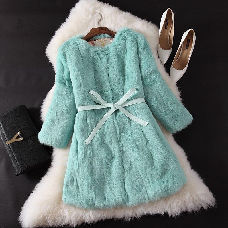 Outwear Blue Vestes Manteau Red Long Lapin Plus Kohuijoo Pour vert Haute Mince gris Fourrure pu Taille Autum Hiver Réel noir La Ceinture Femmes rouge rose light De Qualité lavande Ciel Femelle Beige Naturel Zw0Sw7