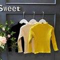 Оборками воротник тянуть enfant meisjes truien желтый maglione трикотаж для девочек свитер дети база рубашка новый год одежда KD072