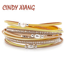 CINDY XIANG New Arrival Freshwater Pearl Bracelets For Women Long Twisted Leather Bangles Cuff Braclet Summer Jewelry Good Gift недорого