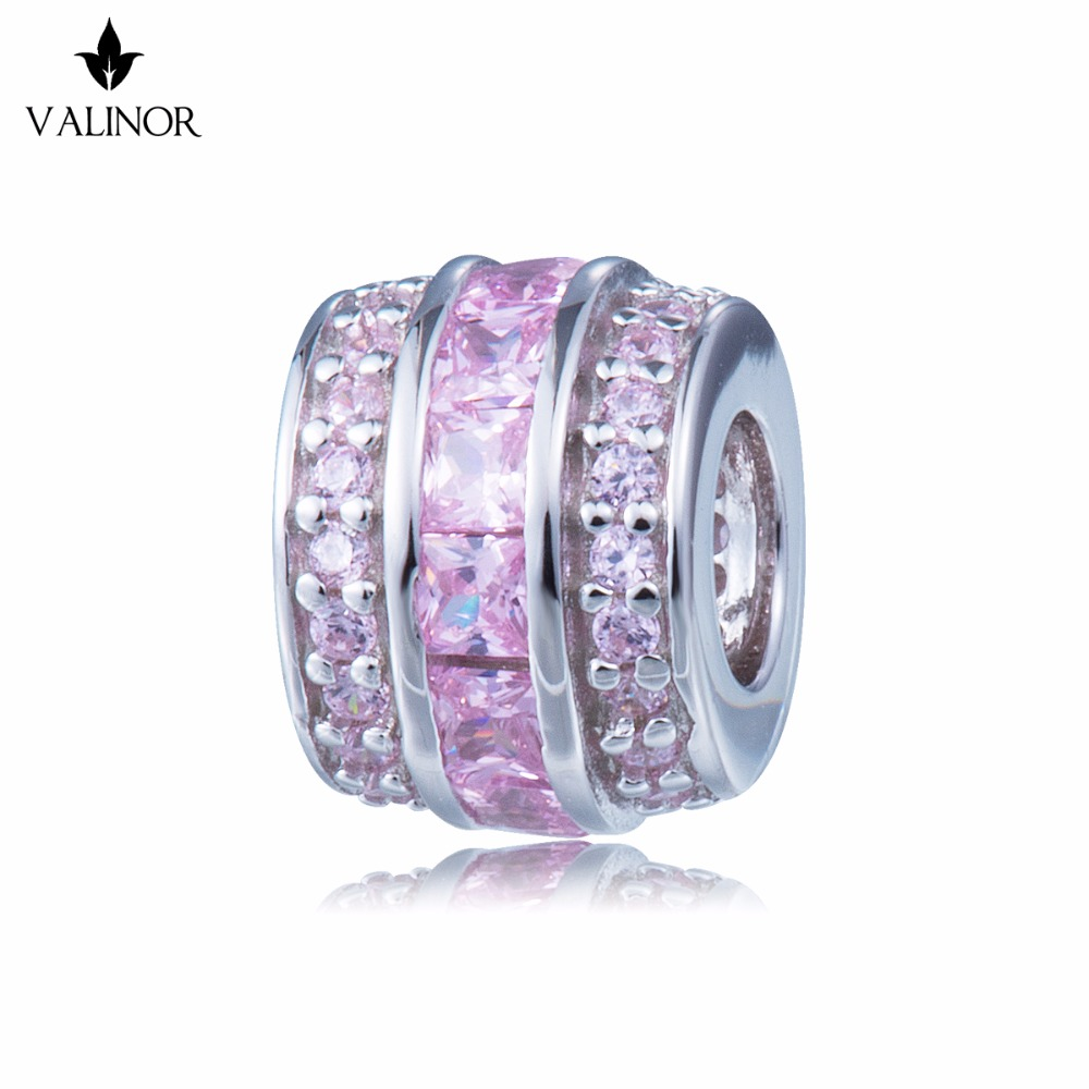 Video! Pink three-layer zircon 925 Sterling Silver beads charms fit Bracelets & Bangles Never change color DDBJ030