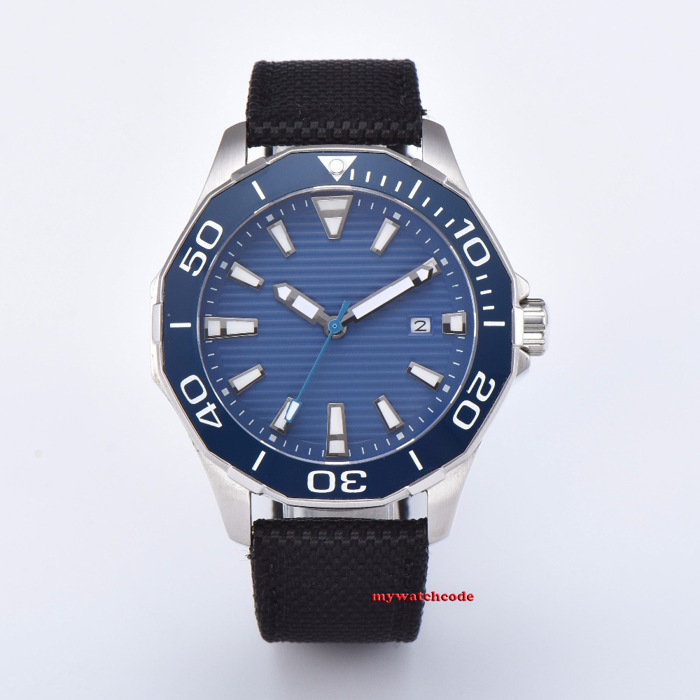 45mm blue sterile dial Sapphire glass Ceramic bezel black PVD case miyota 8215 automatic mens watch