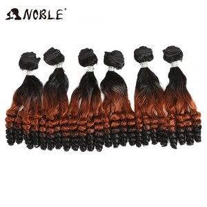 Image 2 - נובל סינטטי שיער האפרו קינקי מתולתל שיער Ombre שיער חבילות הרחבות עבור שחור נשים סינטטי שיער תחרה קדמי עם סגירה
