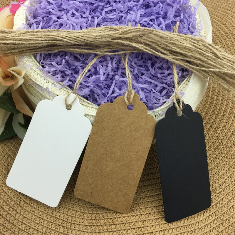 500pcs 4.5x9.5cm String Included Brown Paper Tags, Gift