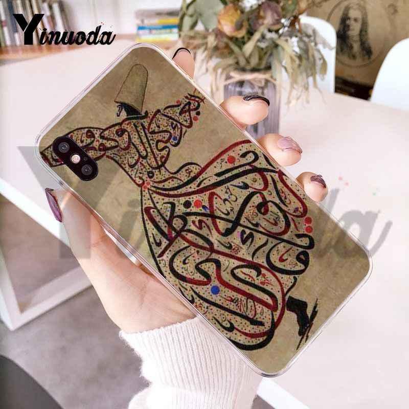 Yinuoda Arabe Musulman İslami Motif logosu şeffaf kapak iphone için kılıf 8 7 6 6S artı X 5 5S SE 5C 411 11pro 11promax