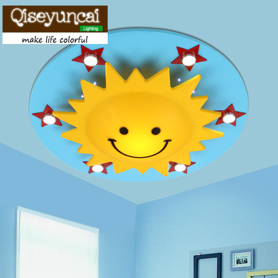 Led Eye Protection Qiseyuncai 2018 New Childrens Room Circular Sunflower Ceiling Lamp Creative Bedroom Lighting Sale Price