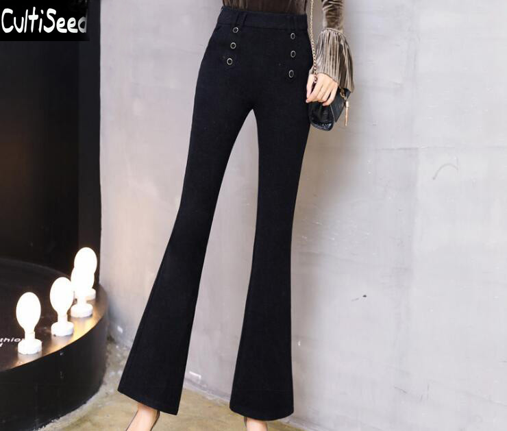 Cultiseed Female Autumn Winter Woolen Flare Pants Women High Waist Double Breasted Elegant Office Work Slim Long Pants Trousers
