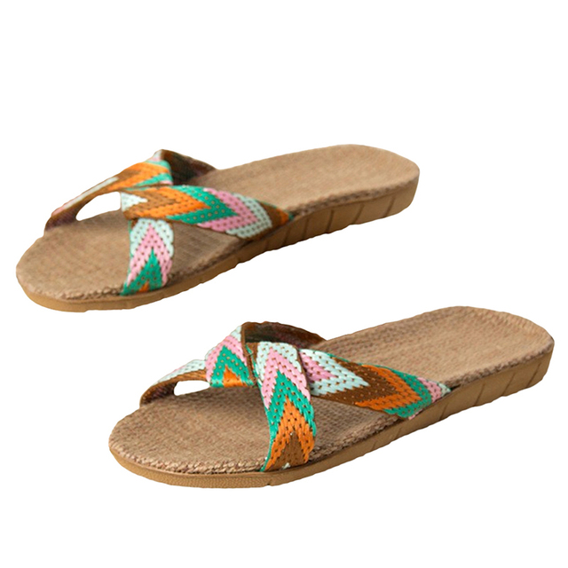 Summer Slippers For Women Chain Slides Home Floor Shoes Flax Cross Belt Silent Sweat Slippers Women Sandals