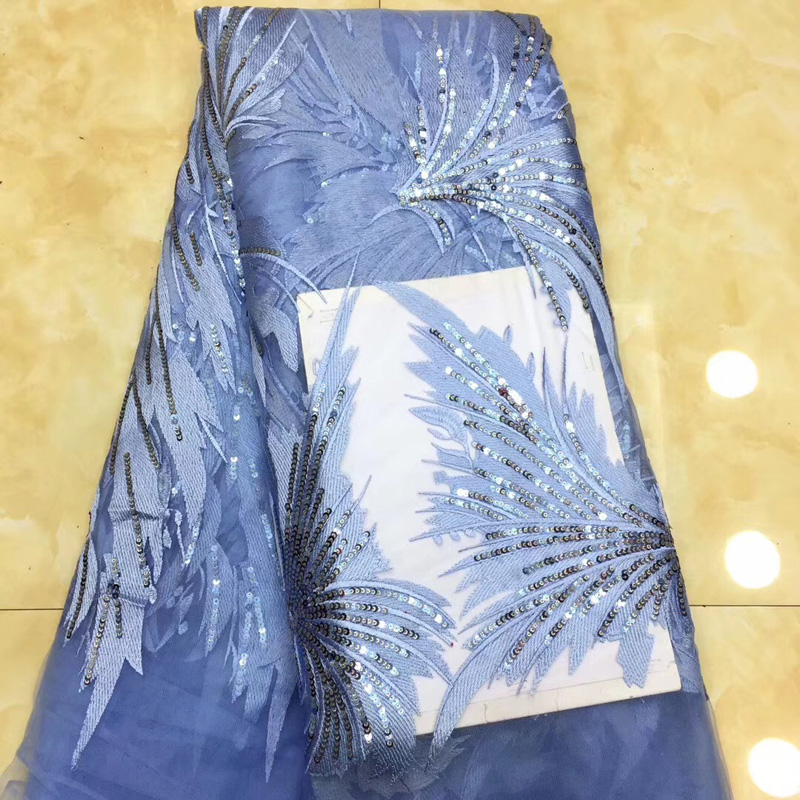 (5yards/pc) High quality skyblue African tulle lace fabric fashion sequins embroidered French net lace for party dress FZZ161(5yards/pc) High quality skyblue African tulle lace fabric fashion sequins embroidered French net lace for party dress FZZ161
